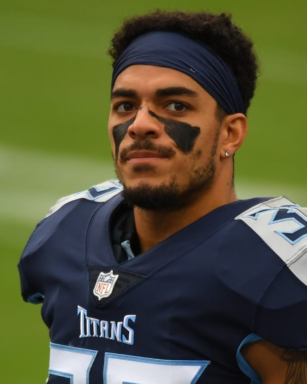 Tennessee Titans safety Amani Hooker (37) before the game against the Houston Texans at Nissan Stadium.