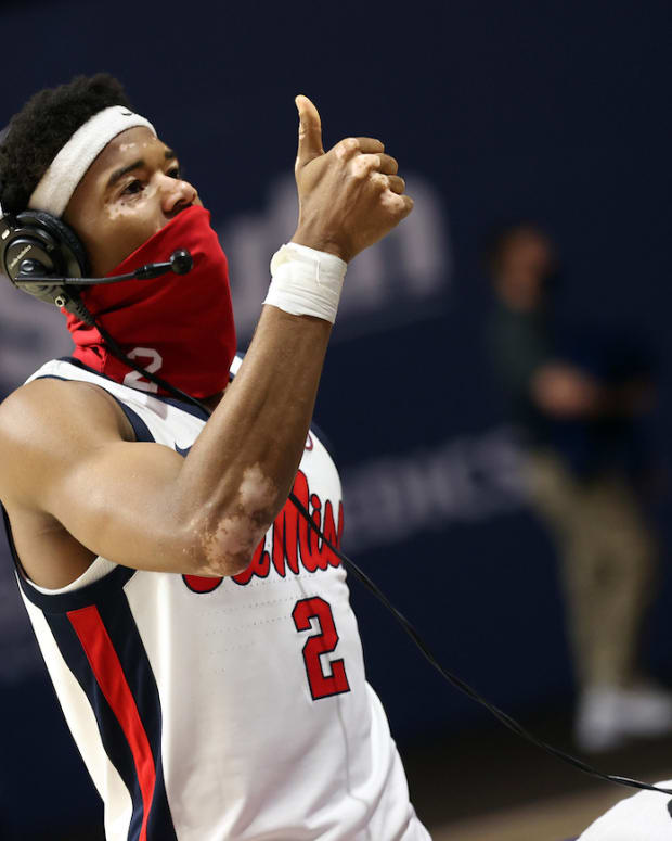 Devontae Shuler. Ole Miss Men's Basketball vs Jackson State on December 10th, 2020 at The Pavilion at Ole Miss in Oxford, MS. (Photo by Joshua McCoy/Ole Miss Athletics)