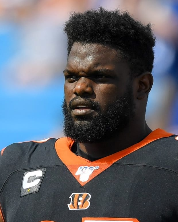 Sep 22, 2019; Orchard Park, NY, USA; Cincinnati Bengals defensive tackle Geno Atkins (97) warms up prior to the game against the Buffalo Bills at New Era Field. Mandatory Credit: Rich Barnes-USA TODAY Sports