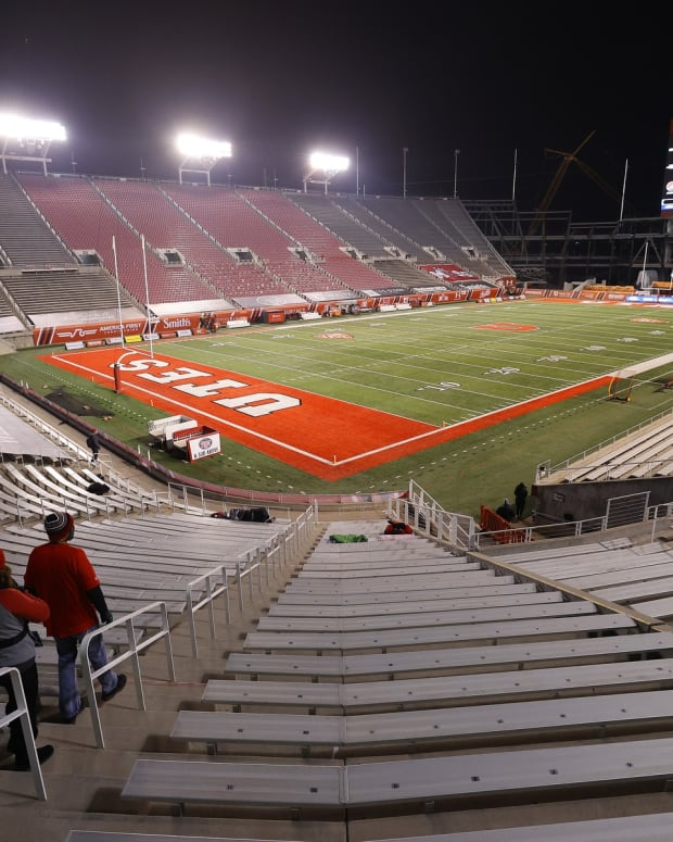 Dec 5, 2020; Salt Lake City, Utah, USA; Preparation for the game was underway prior to the Utah Utes plying the Oregon State Beavers at Rice-Eccles Stadium.