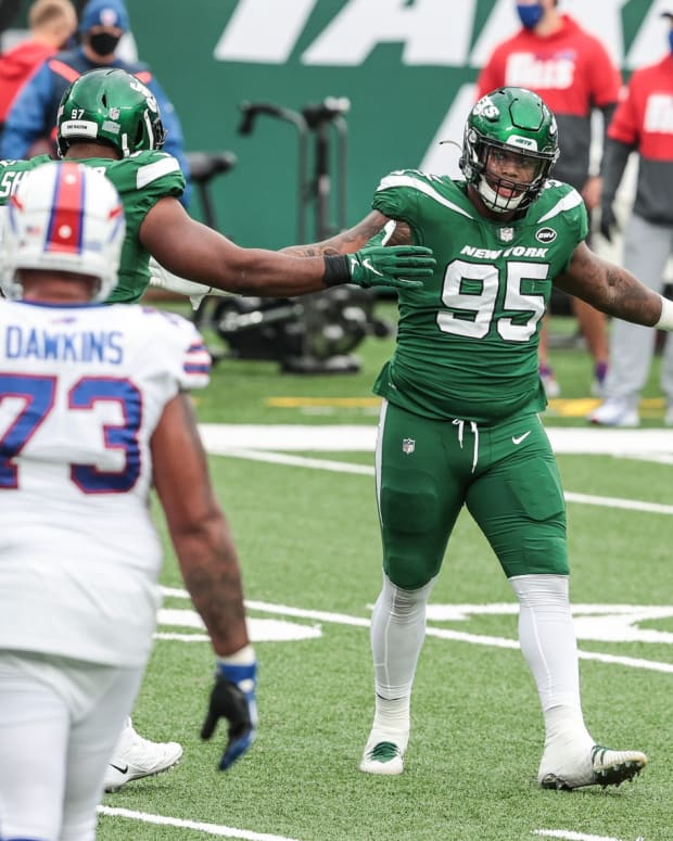 Jets DT Quinnen Williams celebrates sack