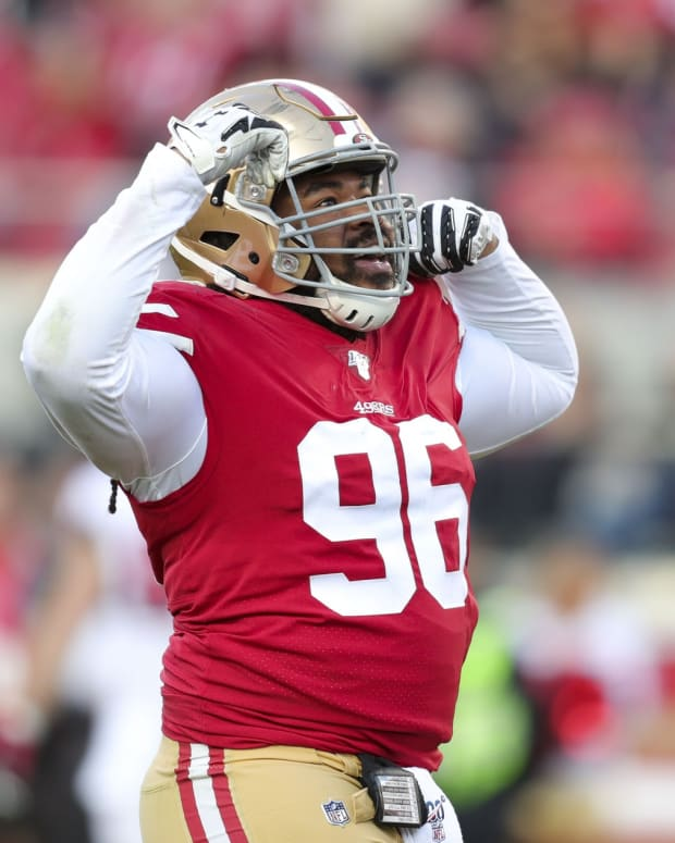 3 Dec 15, 2019; Santa Clara, CA, USA; San Francisco 49ers defensive tackle Sheldon Day (96) celebrates after a sack during the second half against the Atlanta Falcons at Levi s Stadium. Mandatory Credit: Sergio Estrada-USA TODAY Sports