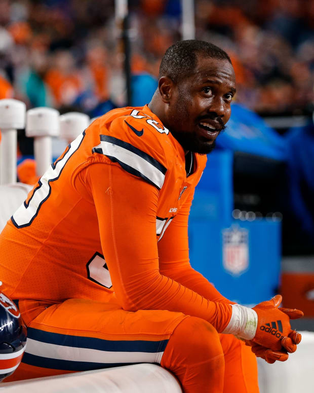 Denver Broncos outside linebacker Von Miller (58) on the bench in the fourth quarter against the Detroit Lions at Empower Field at Mile High.