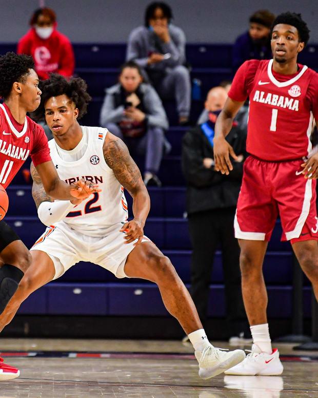 January 9, 2021, Alabama basketball guard Joshua Primo against Auburn in Auburn, AL.