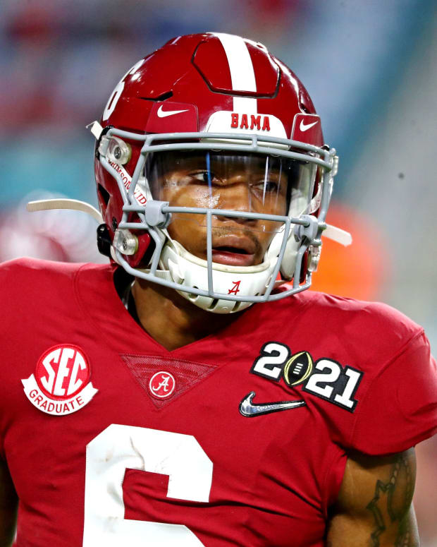 Jan 11, 2021; Miami Gardens, Florida, USA; Alabama Crimson Tide wide receiver DeVonta Smith (6) warms up before playing the Ohio State Buckeyes in the 2021 College Football Playoff National Championship Game. Mandatory Credit: Kim Klement-USA TODAY Sports