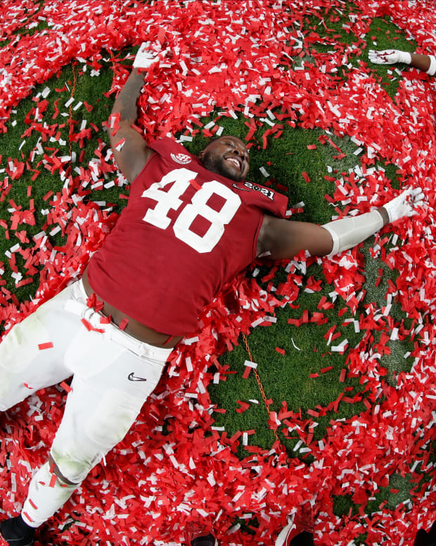 January 11, 2021, Alabama defensive lineman Phidarian Mathis after CFP National Championship in Miami, FL.