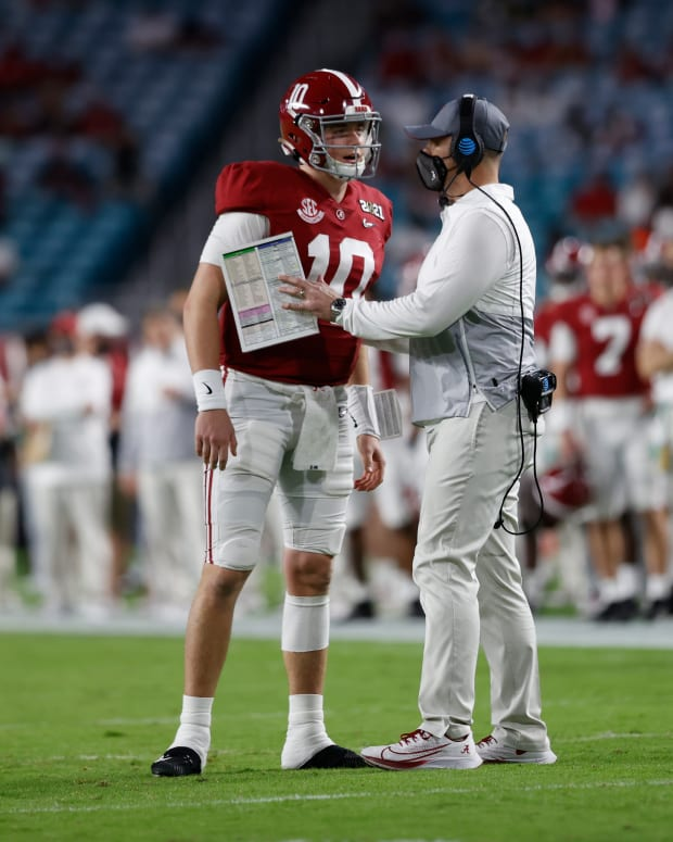 January 11, 2021, Alabama quarterback Mac Jones and offensive coordinator Steve Sarkisian in CFP National Championship in Miami, FL.