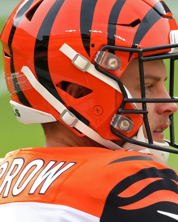 Nov 22, 2020; Landover, Maryland, USA; Cincinnati Bengals quarterback Joe Burrow (9) stands on the field during warmups prior to the Bengals' game against the Washington Football Team at FedExField. Mandatory Credit: Geoff Burke-USA TODAY Sports