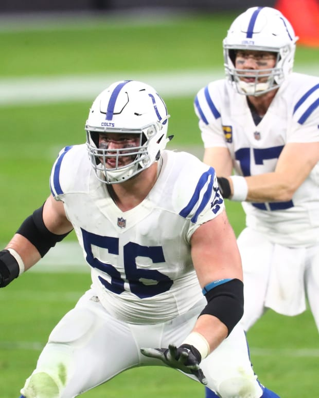 Indianapolis Colts left guard Quenton Nelson (56) blocks for quarterback Philip Rivers during a game at Las Vegas.