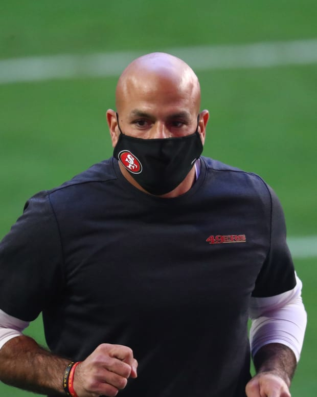 Jan 3, 2021; Glendale, Arizona, USA; San Francisco 49ers defensive coordinator Robert Saleh against the Seattle Seahawks at State Farm Stadium. Mandatory Credit: Mark J. Rebilas-USA TODAY Sports