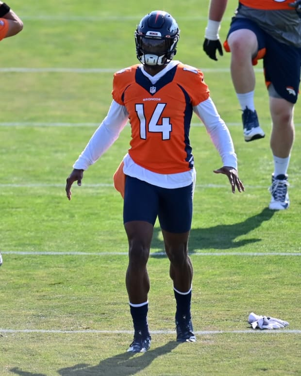 Denver Broncos wide receiver Courtland Sutton (14) during training camp at the UCHealth Training Center.