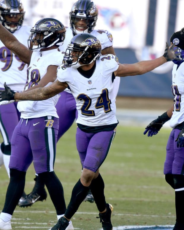 Marcus Peters was fined for this celebration.
