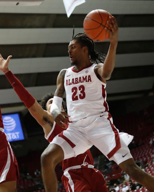 January 16, 2021, Alabama basketball guard John Petty Jr. against Arkansas in Tuscaloosa, AL.