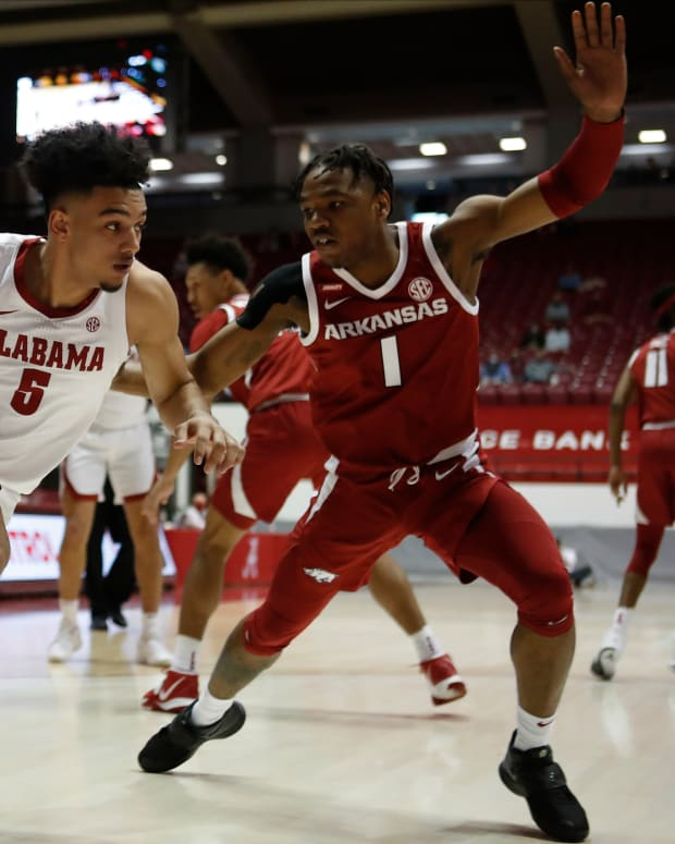 January 16, 2021, Alabama basketball guard Jaden Shackelford against Arkansas in Tuscaloosa, AL.