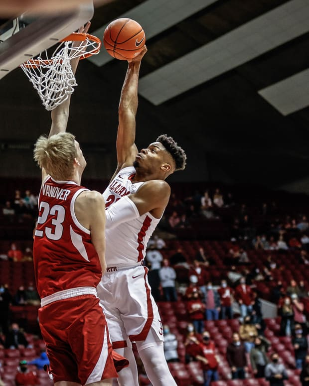 January 16, 2021, Alabama basketball center Keon Ambrose-Hylton against Arkansas in Tuscaloosa, AL.