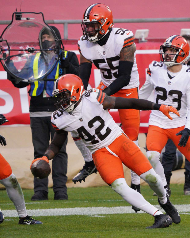 Jan 17, 2021; Kansas City, Missouri, USA; Cleveland Browns strong safety Karl Joseph (42) celebrates his interception against the Kansas City Chiefs during the second half in the AFC Divisional Round playoff game at Arrowhead Stadium