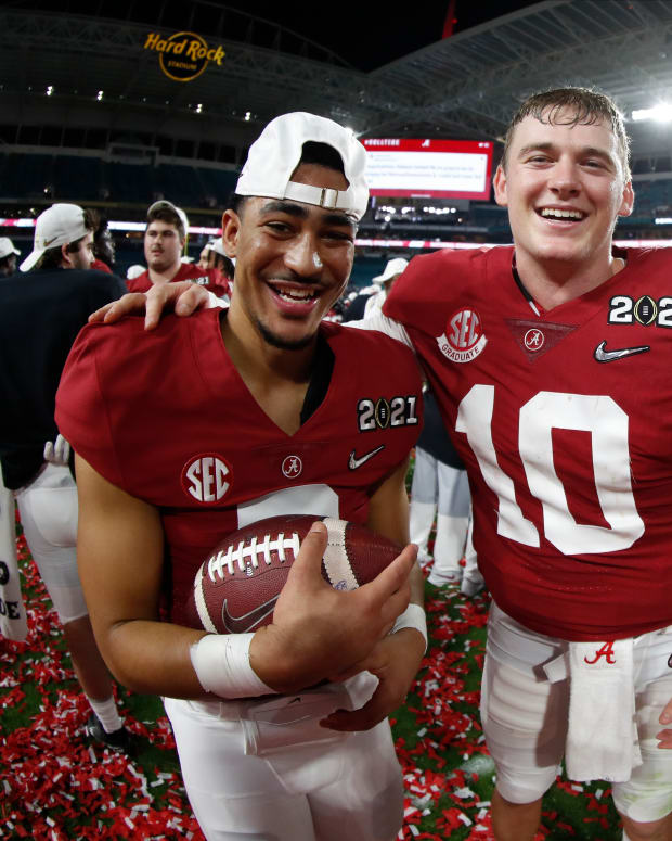 January 11, 2021, Alabama quarterbacks Mac Jones and Bryce Young after the CFP National Championship in Miami, FL.