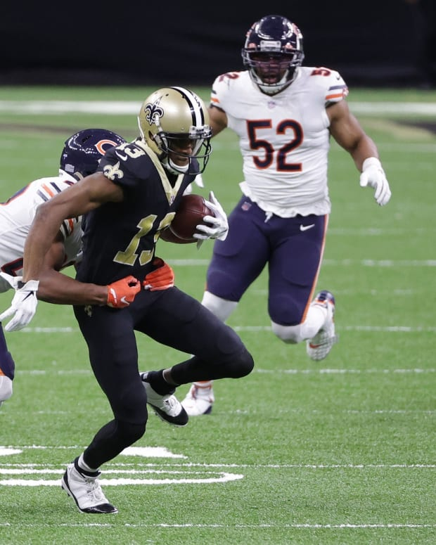 Jan 10, 2021; New Orleans, Louisiana, USA; New Orleans Saints wide receiver Michael Thomas (13) runs the ball against the Chicago Bears during the first half in the NFC Wild Card game at Mercedes-Benz Superdome. Mandatory Credit: Derick E. Hingle-USA TODAY Sports