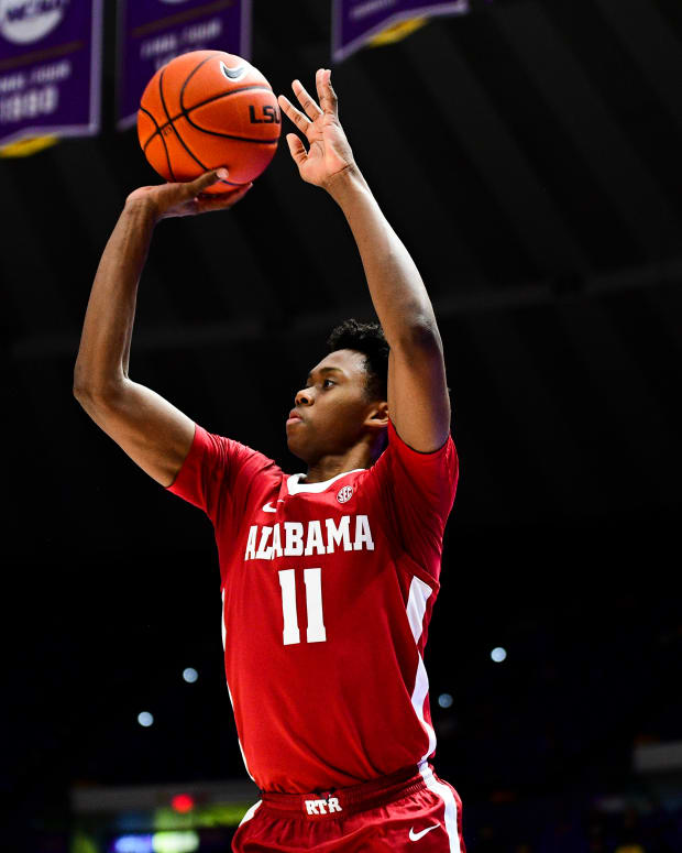 January 19, 2021, Alabama basketball guard Joshua Primo shoots against LSU in Baton Rouge, LA.