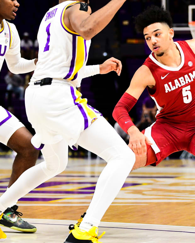 January 19, 2021, Alabama basketball guard Jaden Shackelford dribbles against LSU in Baton Rouge, LA.