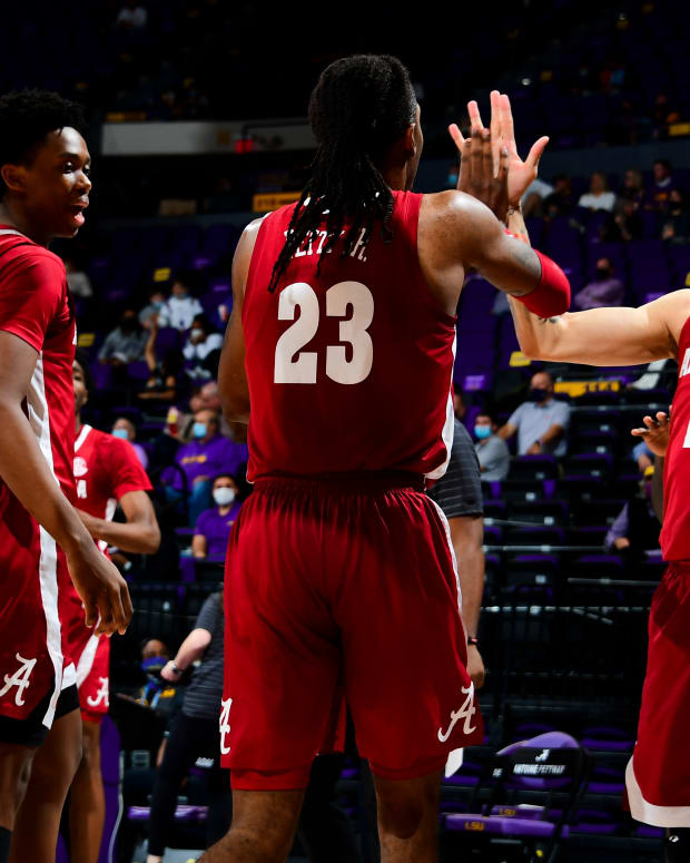 January 19, 2021, Alabama basketball guards Jahvon Quinerly and John Petty Jr. against LSU in Baton Rouge, LA.