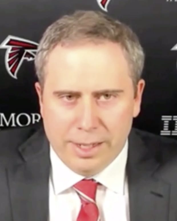 Arthur Smith answers a question during his introductory press conference as Atlanta Falcons head coach.