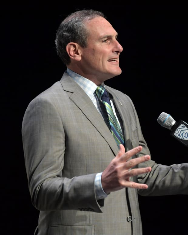 Jul 24, 2019; Los Angeles, CA, USA; Pac-12 commissioner Larry Scott speaks during Pac-12 football media day at Hollywood & Highland.