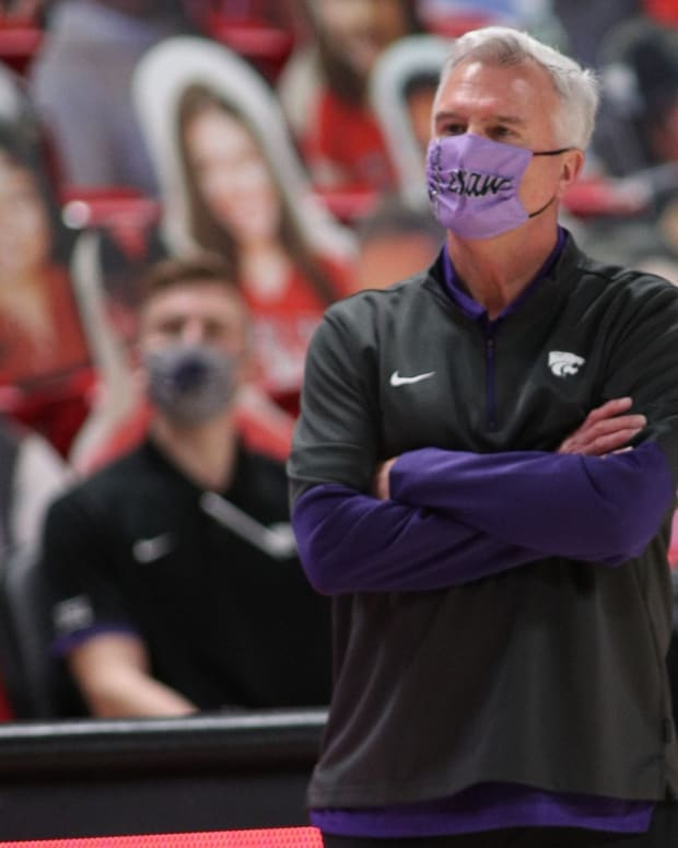 Jan 5, 2021; Lubbock, Texas, USA; Kansas State Wildcats head coach Bruce Weber on the sidelines during the game against the Texas Tech Red Raiders at United Supermarkets Arena.