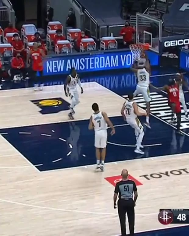 Myles Turner tracks drive out in space for block