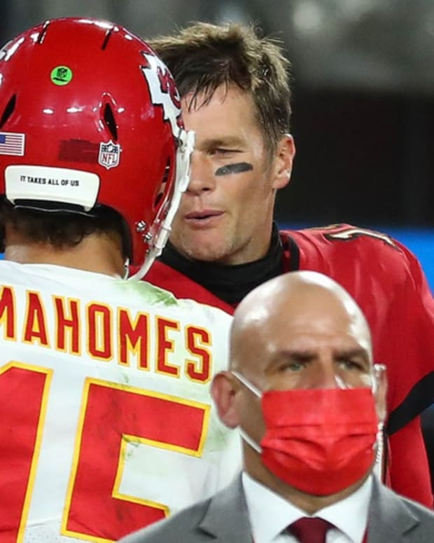 Nov 29, 2020; Tampa, Florida, USA; Kansas City Chiefs quarterback Patrick Mahomes (15) meets with Tampa Bay Buccaneers quarterback Tom Brady (12) following the victory at Raymond James Stadium. Mandatory Credit: Kim Klement-USA TODAY Sports