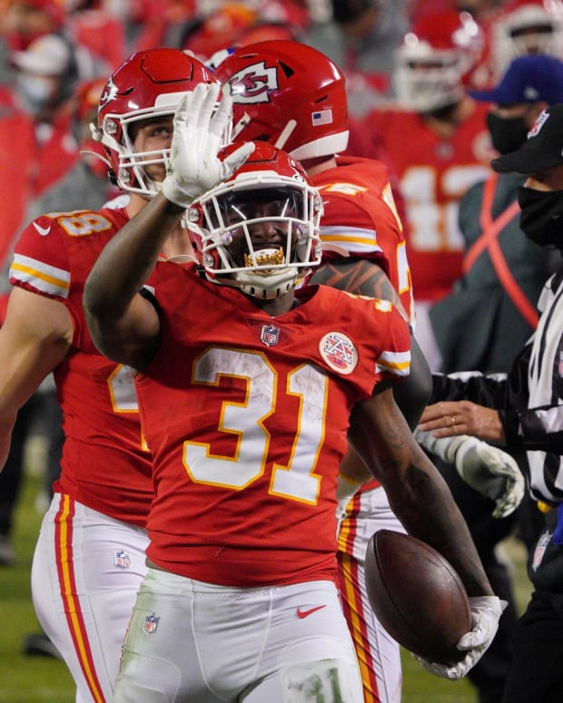 Jan 24, 2021; Kansas City, MO, USA; Kansas City Chiefs running back Darrel Williams (31) reacts against the Buffalo Bills during the fourth quarter in the AFC Championship Game at Arrowhead Stadium. Mandatory Credit: Denny Medley-USA TODAY Sports