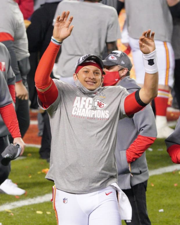 Jan 24, 2021; Kansas City, MO, USA; Kansas City Chiefs quarterback Patrick Mahomes waves to the crowd after defeating the Buffalo Bills in the AFC Championship Game at Arrowhead Stadium. Mandatory Credit: Denny Medley-USA TODAY Sports