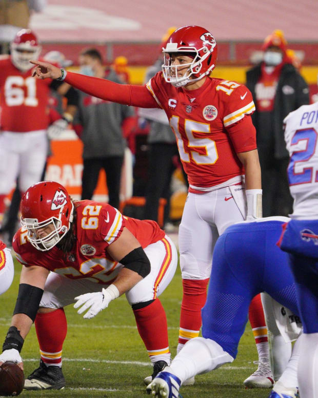 Jan 24, 2021; Kansas City, MO, USA; Kansas City Chiefs quarterback Patrick Mahomes (15) calls out against the Buffalo Bills during the second quarter in the AFC Championship Game at Arrowhead Stadium. Mandatory Credit: Denny Medley-USA TODAY Sports
