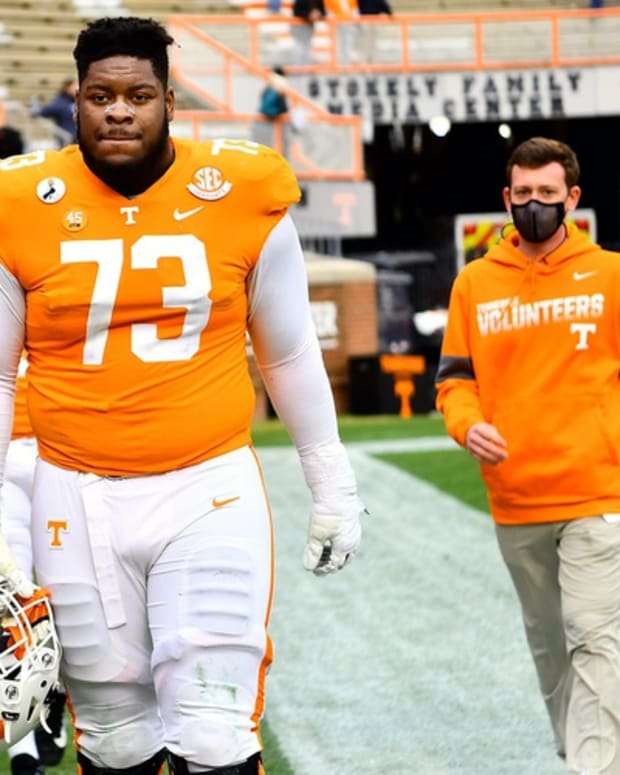 Tennessee offensive lineman Trey Smith (73) walks off the field for the final time after a SEC game between the Tennessee Volunteers and the Texas A&M Aggies held at Neyland Stadium in Knoxville, Tenn., on Saturday, December 19, 2020.