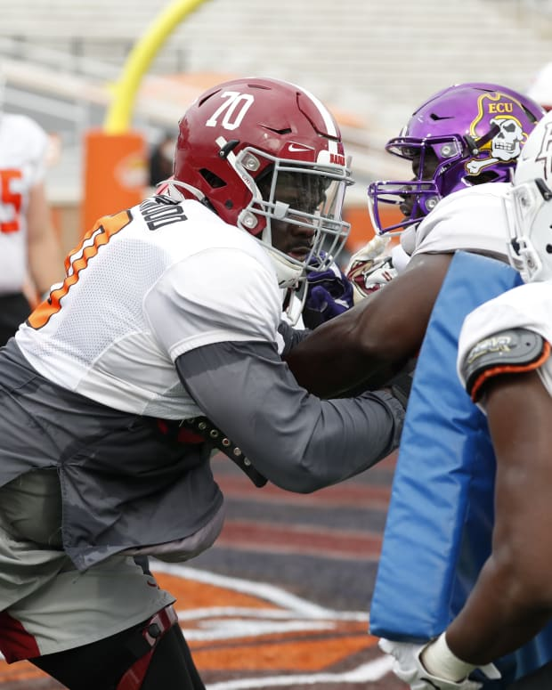 Alex Leatherwood, 2021 Senior Bowl Practice, January 26, 2021