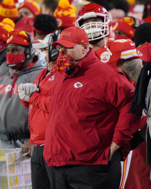 Jan 24, 2021; Kansas City, MO, USA; Kansas City Chiefs head coach Andy Reid reacts against the Buffalo Bills during the fourth quarter in the AFC Championship Game at Arrowhead Stadium. Mandatory Credit: Denny Medley-USA TODAY Sports