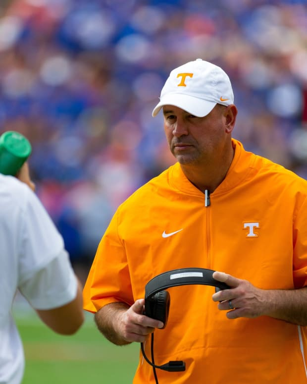 Tennessee Volunteers head coach Jeremy Pruitt during the game against the Tennessee Volunteers at Ben Hill Griffin Stadium in Gainesville, FL on Saturday, September 21, 2019.
