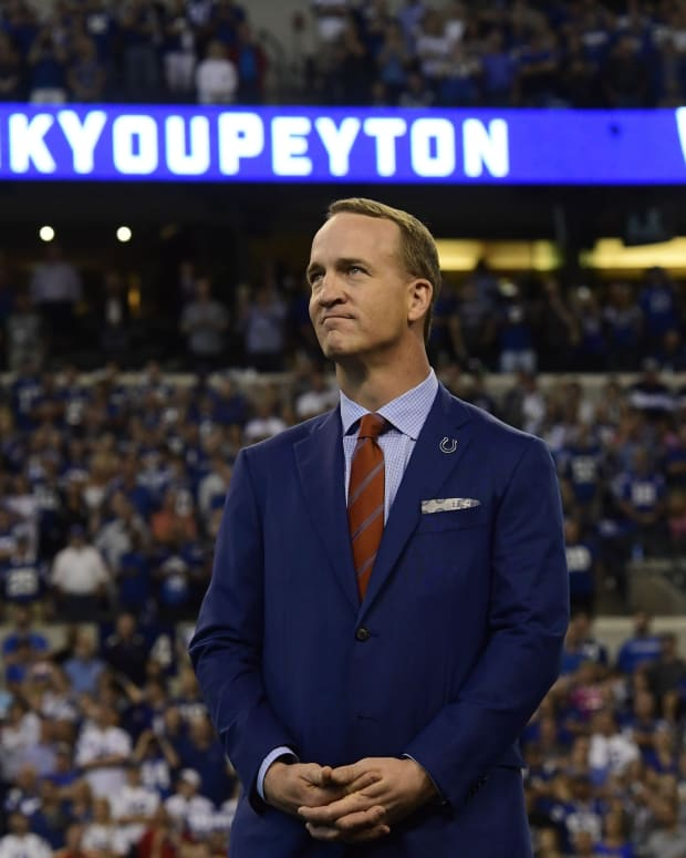 Quarterback Peyton Manning, shown being inducted into the Indianapolis Colts Ring of Honor in 2017, has been voted into the Pro Football Hall of Fame.