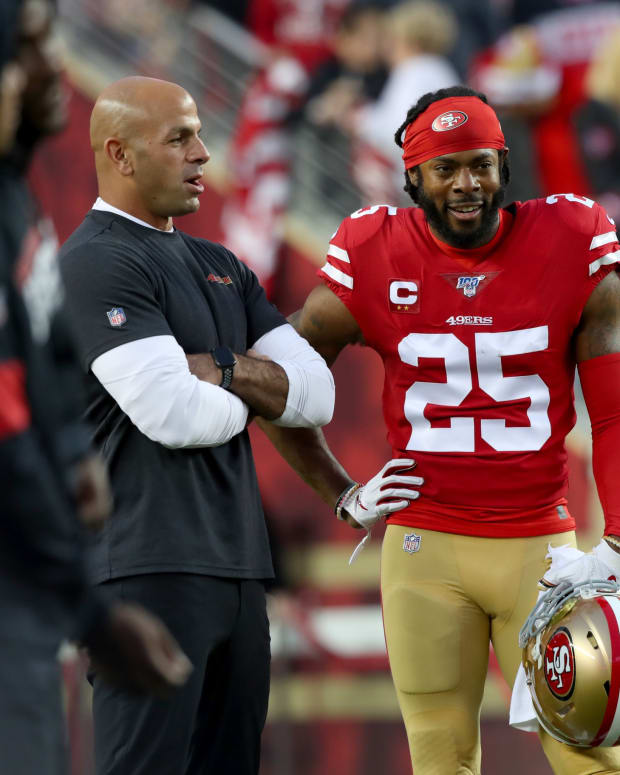 49ers cornerback Richard Sherman with Robert Saleh