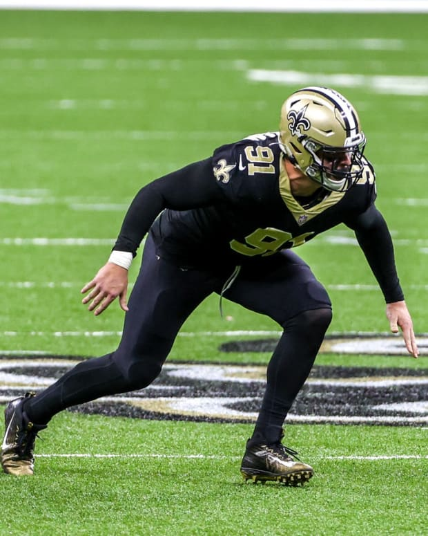 Saints defensive end Trey Hendrickson (91) could be a free-agent target of the Bills this coming offseason.