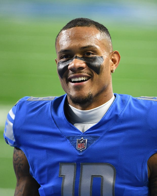 Oct 4, 2020; Detroit, Michigan, USA; Detroit Lions wide receiver Kenny Golladay (19) before the game against the New Orleans Saints at Ford Field.