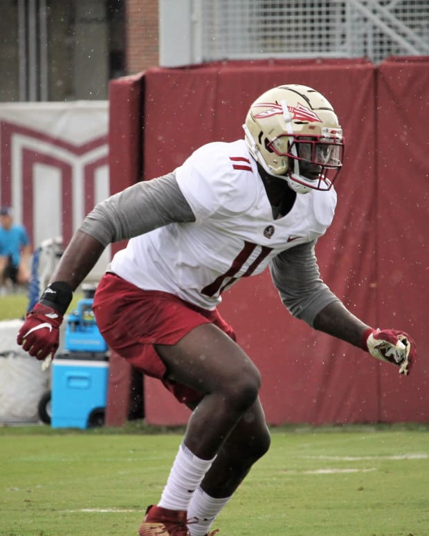 Defensive end Janarius Robinson at FSU football practice on Aug. 5, 2019.