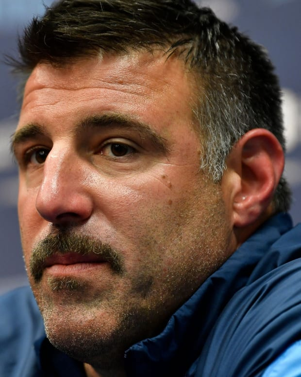 Titans head coach Mike Vrabel takes questions about the 2019 NFL Draft during a press conference at Saint Thomas Sports Park Monday, April 22, 2019 in Nashville, Tenn.