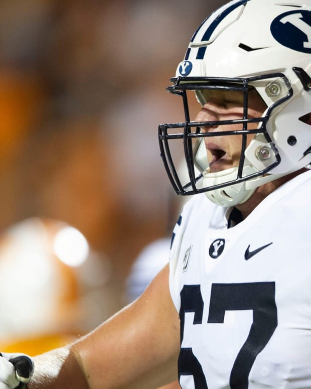 BYU offensive lineman Brady Christensen (67) during the game against Tennessee on Saturday, September 7, 2019. Utbyu0907