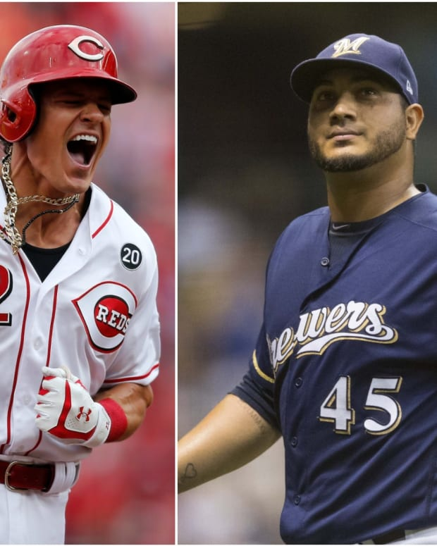 Reds Derek Dietrich and Brewers Jhoulys Chacin