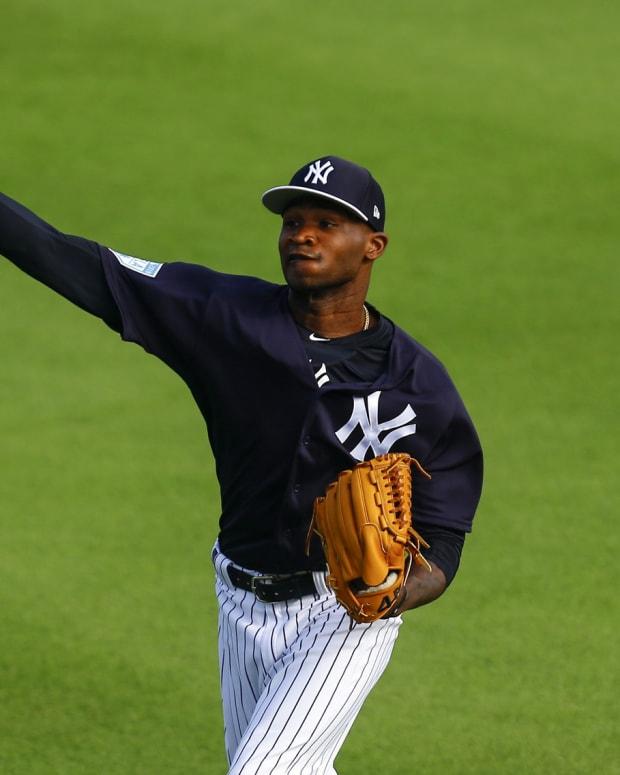 Yankees SP Domingo German throwing Spring Training