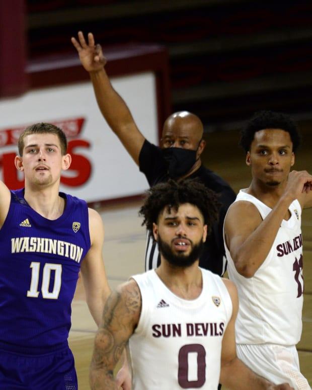 Erik Stevenson watches his shot go in against ASU.