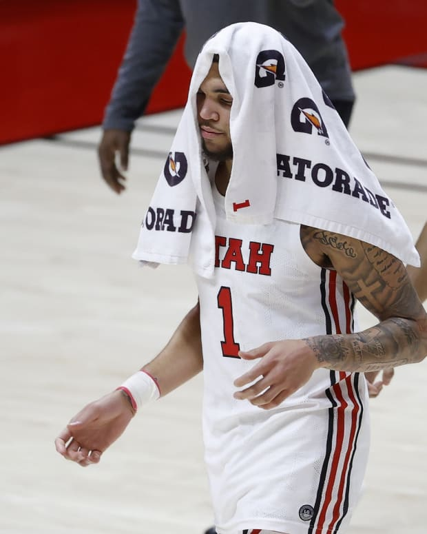 Feb 25, 2021; Salt Lake City, Utah, UCA; Utah Utes forward Timmy Allen (1) walks off the court after their loss to the UCLA Bruins at Jon M. Huntsman Center.
