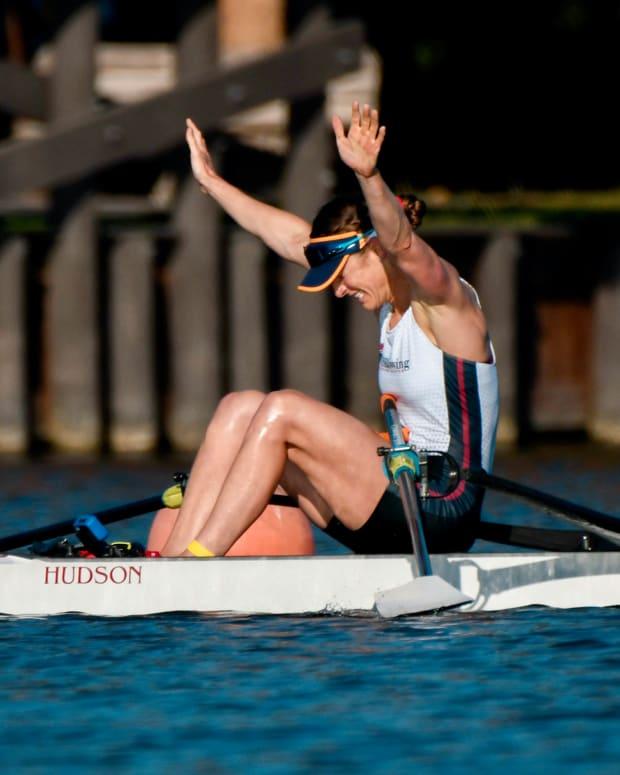 Kara Kohler celebrates her victory at the U.S. Olympic trials