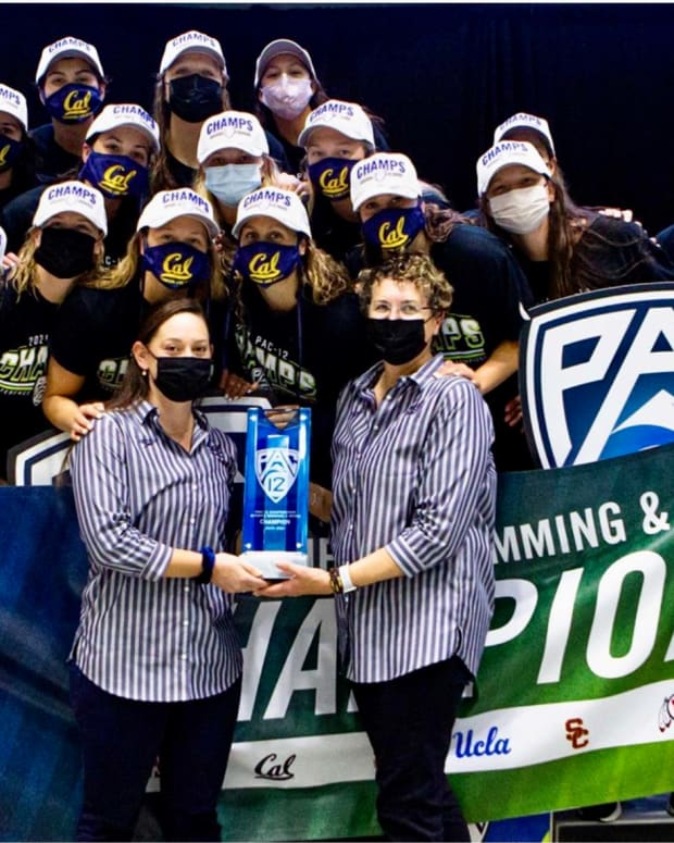 Cal celebrates its Pac-12 women's swimming title